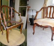 Avant et après restauration des pieds et traverses avant (mauvaise restauration auparavant)